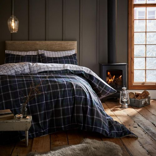Catherine Lansfield Brushed Tartan Check Navy Bedding Set